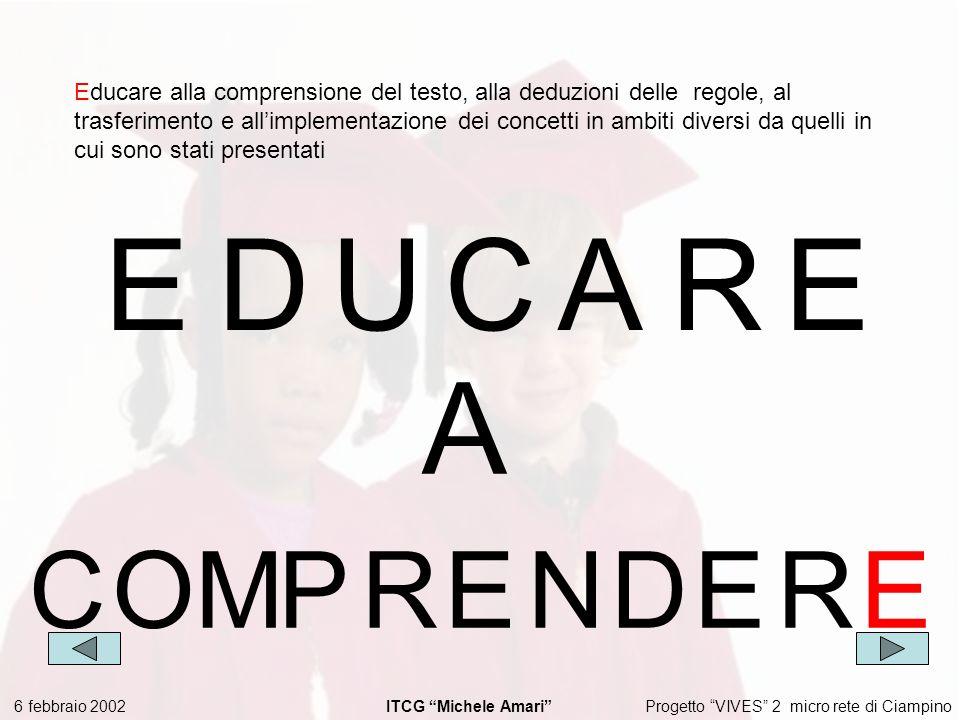 Progetto VIVES 2 micro rete di Ciampino 6 febbraio 2002 ITCG Michele Amari EDUCARE A COMPRENDER E Educare alla comprensione del testo, alla deduzioni delle regole, al trasferimento e allimplementazione dei concetti in ambiti diversi da quelli in cui sono stati presentati