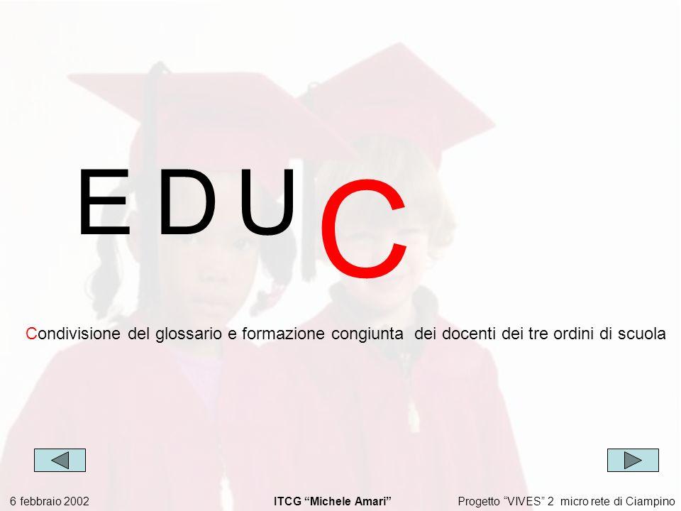 Progetto VIVES 2 micro rete di Ciampino 6 febbraio 2002 ITCG Michele Amari EDU C Condivisione del glossario e formazione congiunta dei docenti dei tre ordini di scuola