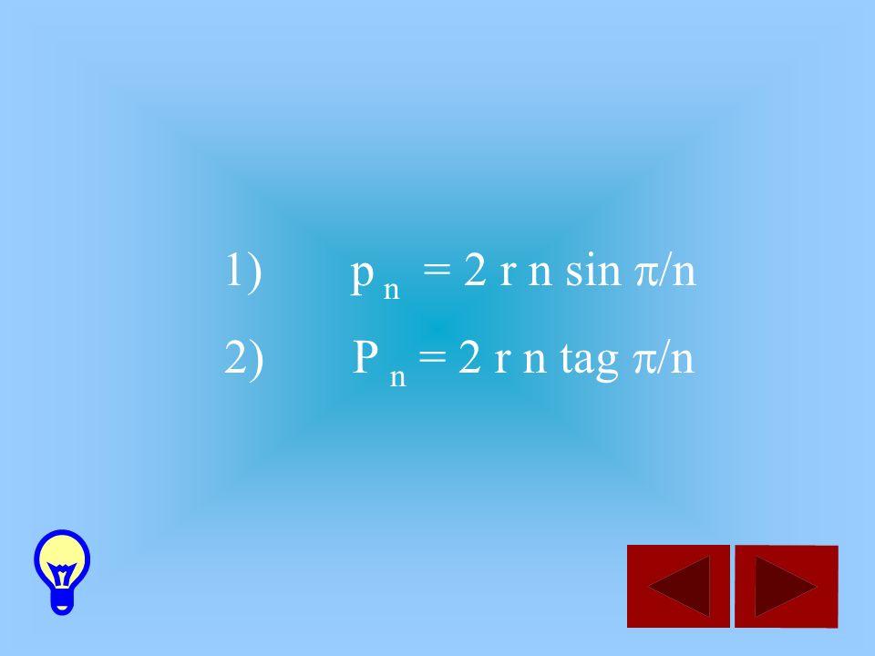 1) p n = 2 r n sin /n 2) P n = 2 r n tag /n