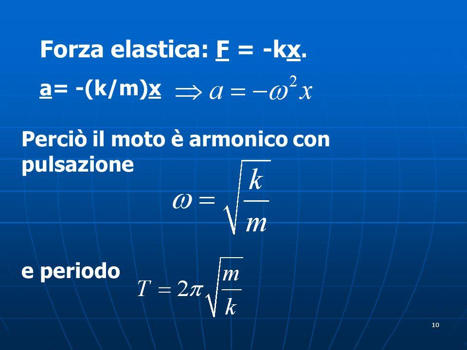 10 Forza elastica: F = -kx. a= -(k/m)x Perciò il moto è armonico con pulsazione e periodo
