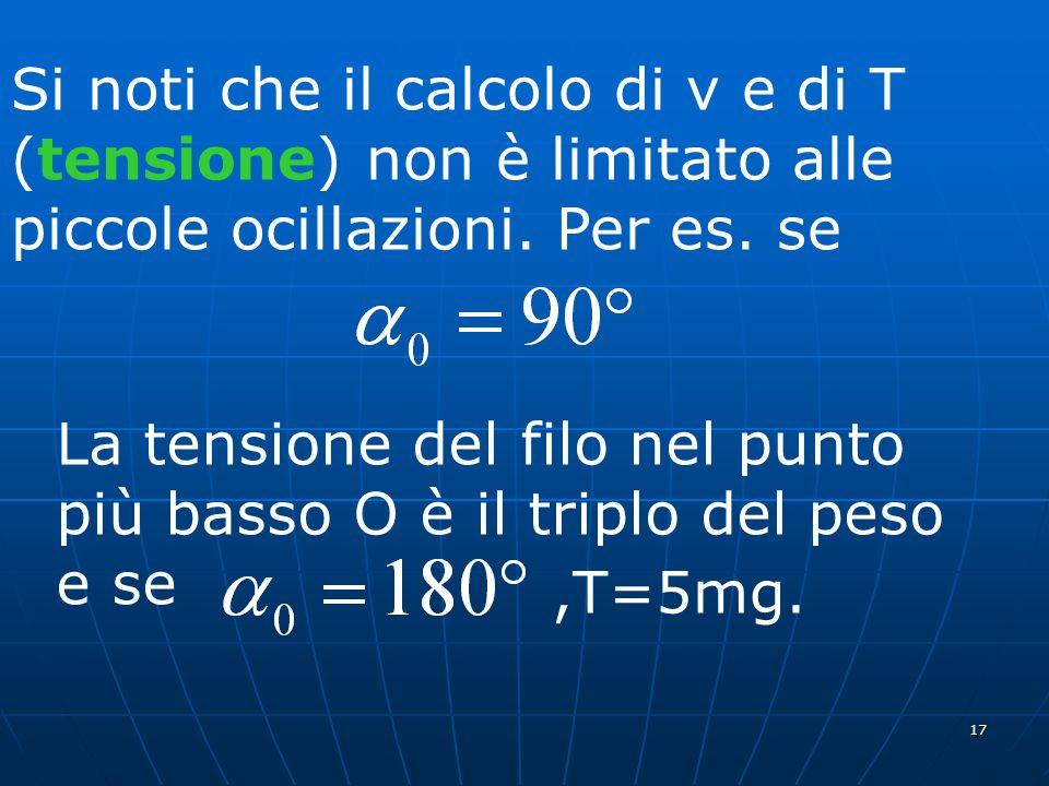17 Si noti che il calcolo di v e di T (tensione) non è limitato alle piccole ocillazioni. Per es. se La tensione del filo nel punto più basso O è il t