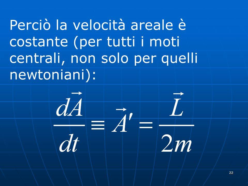 22 Perciò la velocità areale è costante (per tutti i moti centrali, non solo per quelli newtoniani):