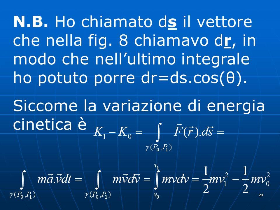 24 N.B. Ho chiamato ds il vettore che nella fig. 8 chiamavo dr, in modo che nellultimo integrale ho potuto porre dr=ds.cos(θ). Siccome la variazione d