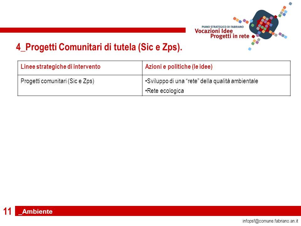 11 infopsf@comune.fabriano.an.it 4_Progetti Comunitari di tutela (Sic e Zps).