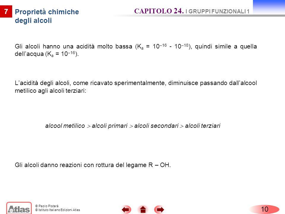 © Paolo Pistarà © Istituto Italiano Edizioni Atlas 7 Proprietà chimiche degli alcoli Gli alcoli hanno una acidità molto bassa (K a = 10 16 - 10 18 ),