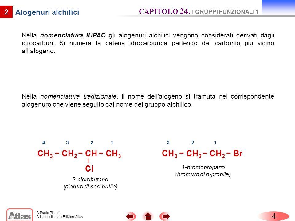 © Paolo Pistarà © Istituto Italiano Edizioni Atlas Nella nomenclatura IUPAC gli alogenuri alchilici vengono considerati derivati dagli idrocarburi. Si
