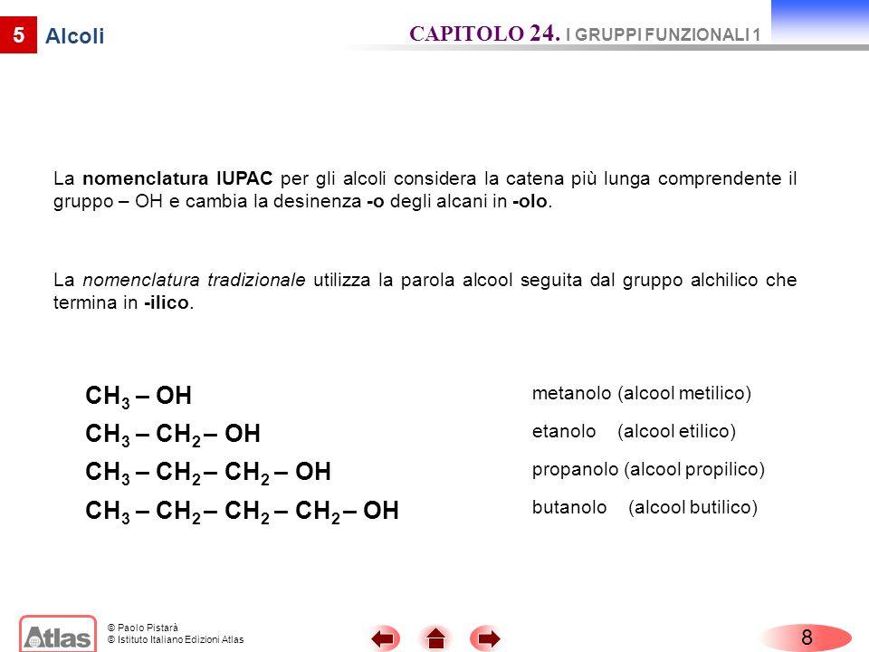 © Paolo Pistarà © Istituto Italiano Edizioni Atlas 5 Alcoli La nomenclatura IUPAC per gli alcoli considera la catena più lunga comprendente il gruppo