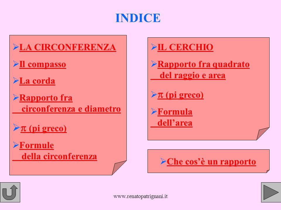 www.renatopatrignani.it LA CIRCONFERENZA La circonferenza è una linea curva chiusa i cui punti sono tutti ad uguale distanza dal centro (o); questa distanza si chiama raggio (r).