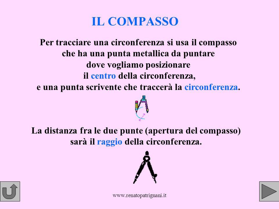 www.renatopatrignani.it IL COMPASSO Per tracciare una circonferenza si usa il compasso che ha una punta metallica da puntare dove vogliamo posizionare