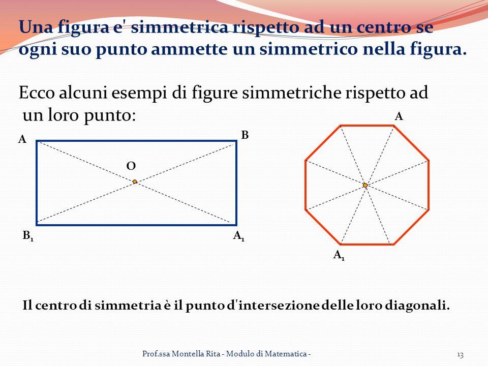 Una figura e simmetrica rispetto ad un centro se ogni suo punto ammette un simmetrico nella figura.