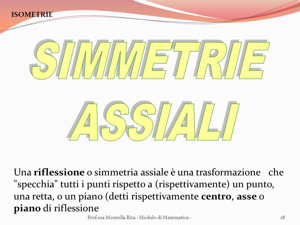 ISOMETRIE Una riflessione o simmetria assiale è una trasformazione che specchia tutti i punti rispetto a (rispettivamente) un punto, una retta, o un piano (detti rispettivamente centro, asse o piano di riflessione 18Prof.ssa Montella Rita - Modulo di Matematica -