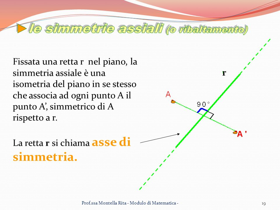 Fissata una retta r nel piano, la simmetria assiale è una isometria del piano in se stesso che associa ad ogni punto A il punto A, simmetrico di A rispetto a r.