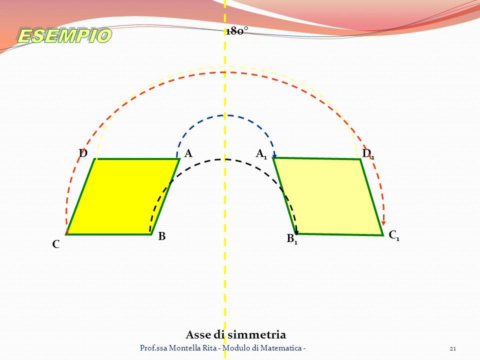 Asse di simmetria AA1A1 B B1B1 C C1C1 DD1D1 180° 21Prof.ssa Montella Rita - Modulo di Matematica -