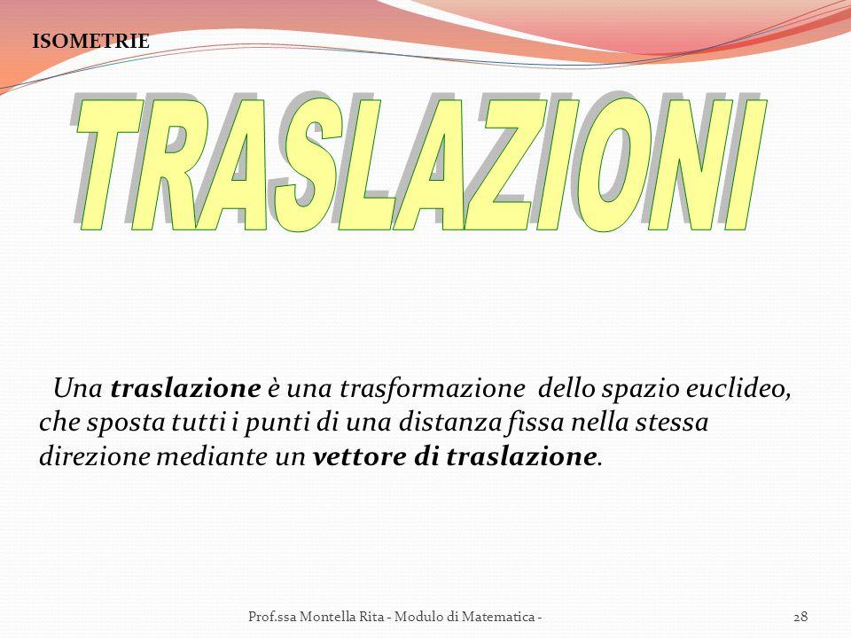 ISOMETRIE Una traslazione è una trasformazione dello spazio euclideo, che sposta tutti i punti di una distanza fissa nella stessa direzione mediante un vettore di traslazione.
