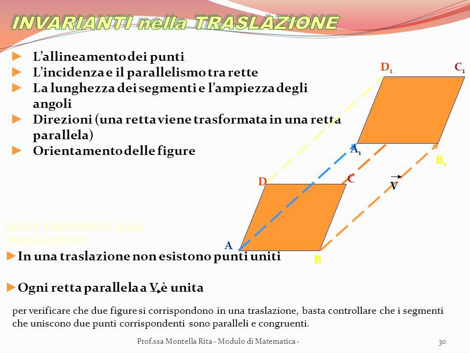 ALTRE PROPRIETA della TRASLAZIONE In una traslazione non esistono punti uniti Ogni retta parallela a V è unita per verificare che due figure si corrispondono in una traslazione, basta controllare che i segmenti che uniscono due punti corrispondenti sono paralleli e congruenti.