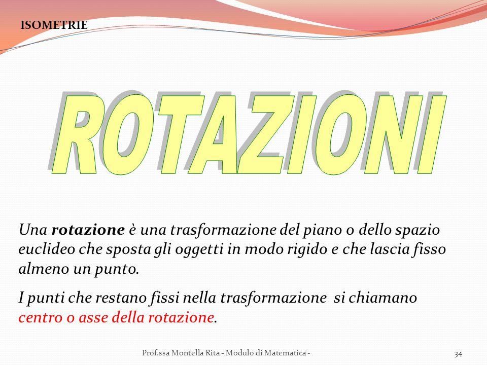ISOMETRIE Una rotazione è una trasformazione del piano o dello spazio euclideo che sposta gli oggetti in modo rigido e che lascia fisso almeno un punto.