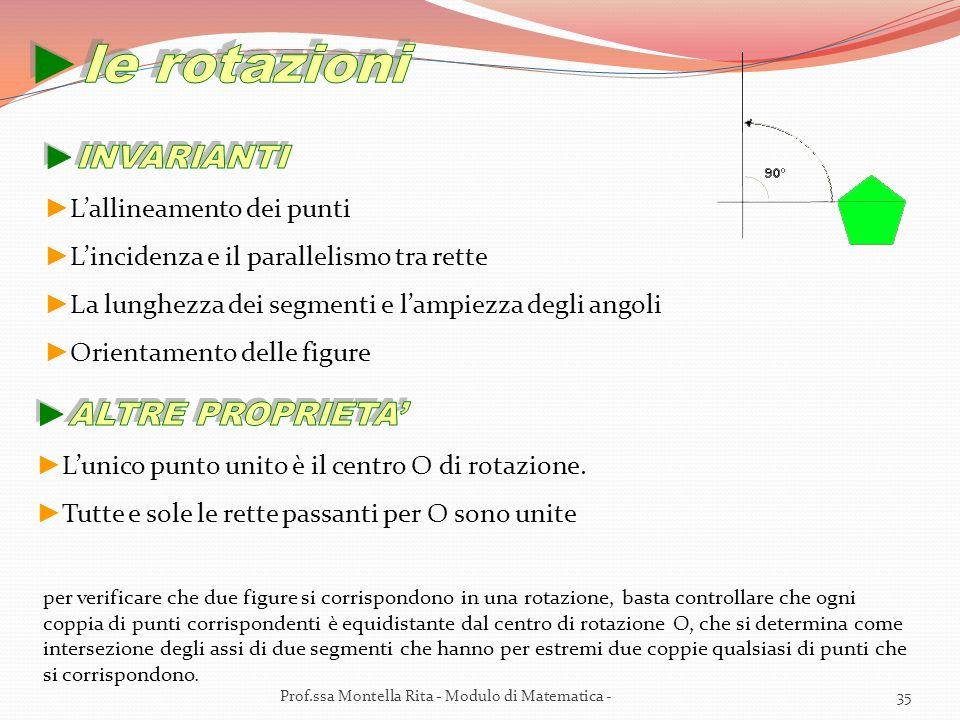 per verificare che due figure si corrispondono in una rotazione, basta controllare che ogni coppia di punti corrispondenti è equidistante dal centro di rotazione O, che si determina come intersezione degli assi di due segmenti che hanno per estremi due coppie qualsiasi di punti che si corrispondono.