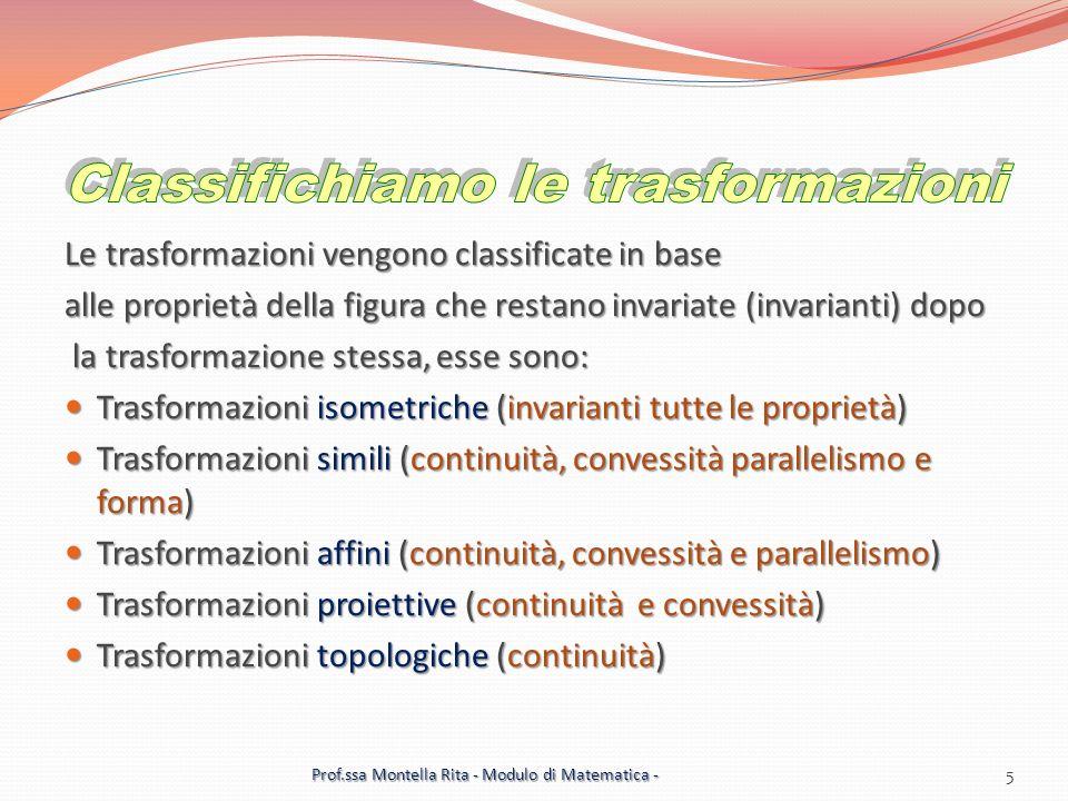 Le trasformazioni vengono classificate in base alle proprietà della figura che restano invariate (invarianti) dopo la trasformazione stessa, esse sono: la trasformazione stessa, esse sono: Trasformazioni isometriche (invarianti tutte le proprietà) Trasformazioni isometriche (invarianti tutte le proprietà) Trasformazioni simili (continuità, convessità parallelismo e forma) Trasformazioni simili (continuità, convessità parallelismo e forma) Trasformazioni affini (continuità, convessità e parallelismo) Trasformazioni affini (continuità, convessità e parallelismo) Trasformazioni proiettive (continuità e convessità) Trasformazioni proiettive (continuità e convessità) Trasformazioni topologiche (continuità) Trasformazioni topologiche (continuità) 5 Prof.ssa Montella Rita - Modulo di Matematica -