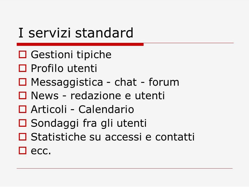 I servizi standard Gestioni tipiche Profilo utenti Messaggistica - chat - forum News - redazione e utenti Articoli - Calendario Sondaggi fra gli utenti Statistiche su accessi e contatti ecc.