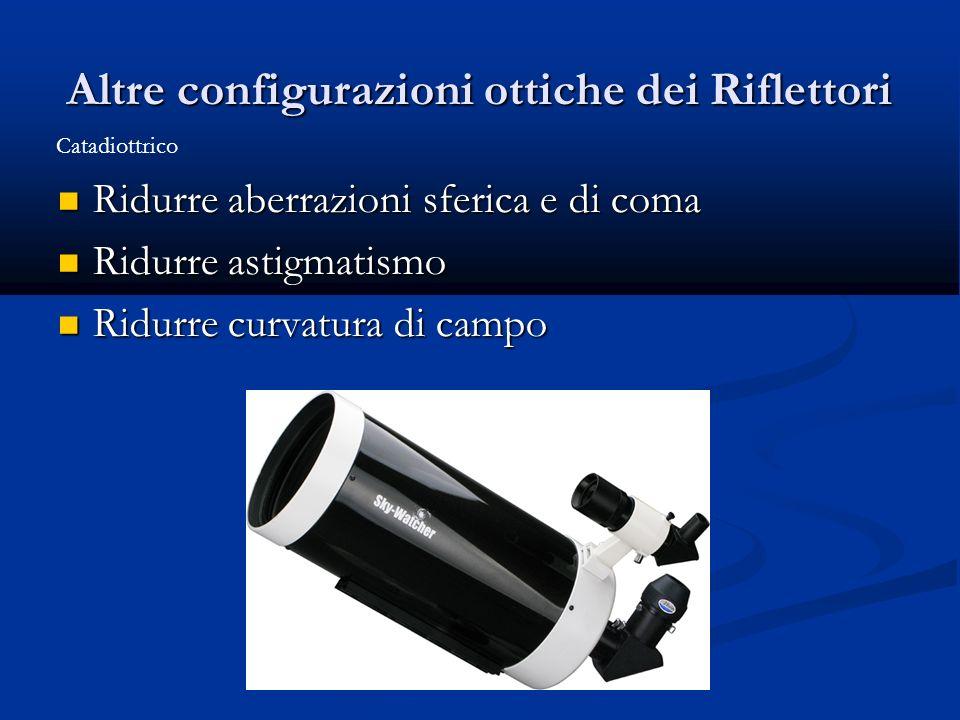 Altre configurazioni ottiche dei Riflettori Ridurre aberrazioni sferica e di coma Ridurre aberrazioni sferica e di coma Ridurre astigmatismo Ridurre a