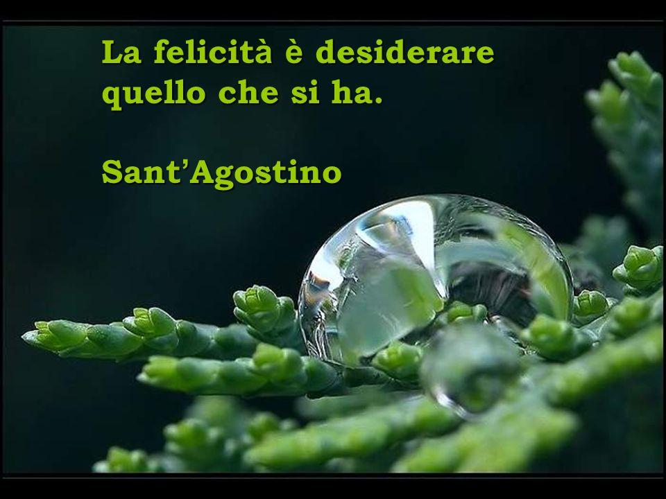 La felicit à è desiderare quello che si ha. Sant Agostino