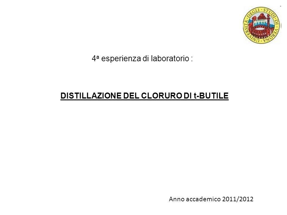 4 a esperienza di laboratorio : DISTILLAZIONE DEL CLORURO DI t-BUTILE Anno accademico 2011/2012