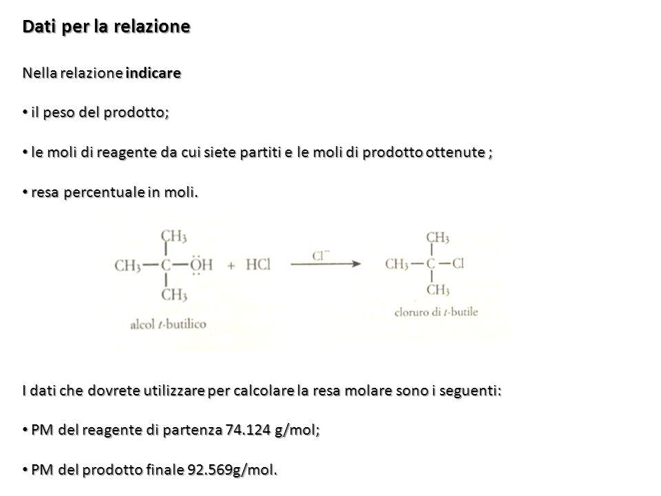Dati per la relazione Nella relazione indicare il peso del prodotto; il peso del prodotto; le moli di reagente da cui siete partiti e le moli di prodo