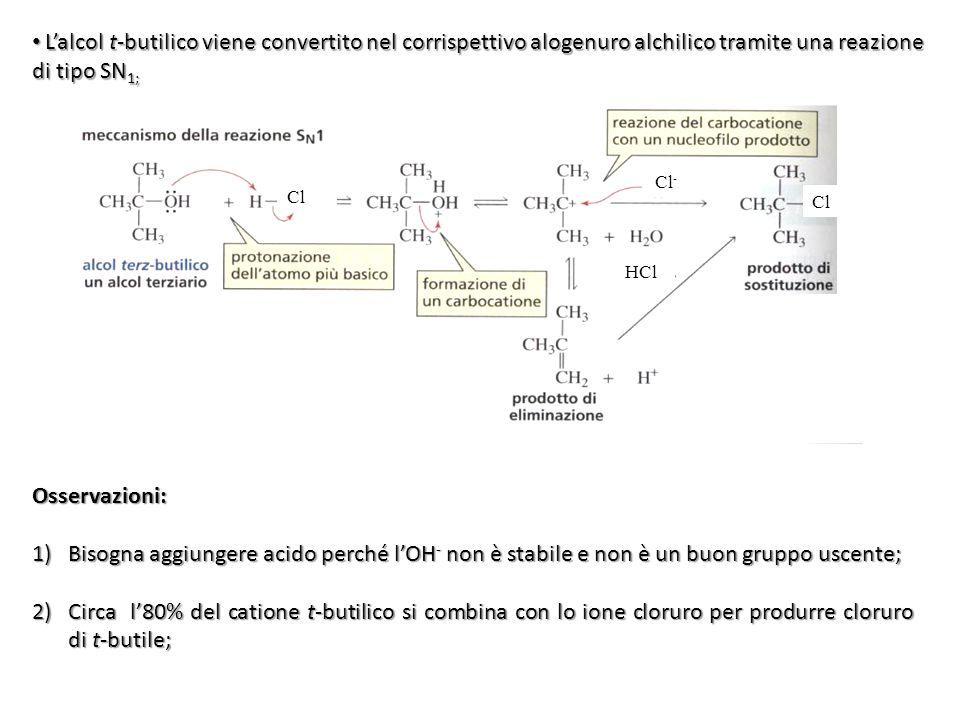 Lalcol t-butilico viene convertito nel corrispettivo alogenuro alchilico tramite una reazione di tipo SN 1; Lalcol t-butilico viene convertito nel cor