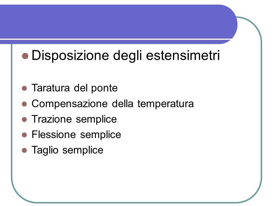 Disposizione degli estensimetri Taratura del ponte Compensazione della temperatura Trazione semplice Flessione semplice Taglio semplice