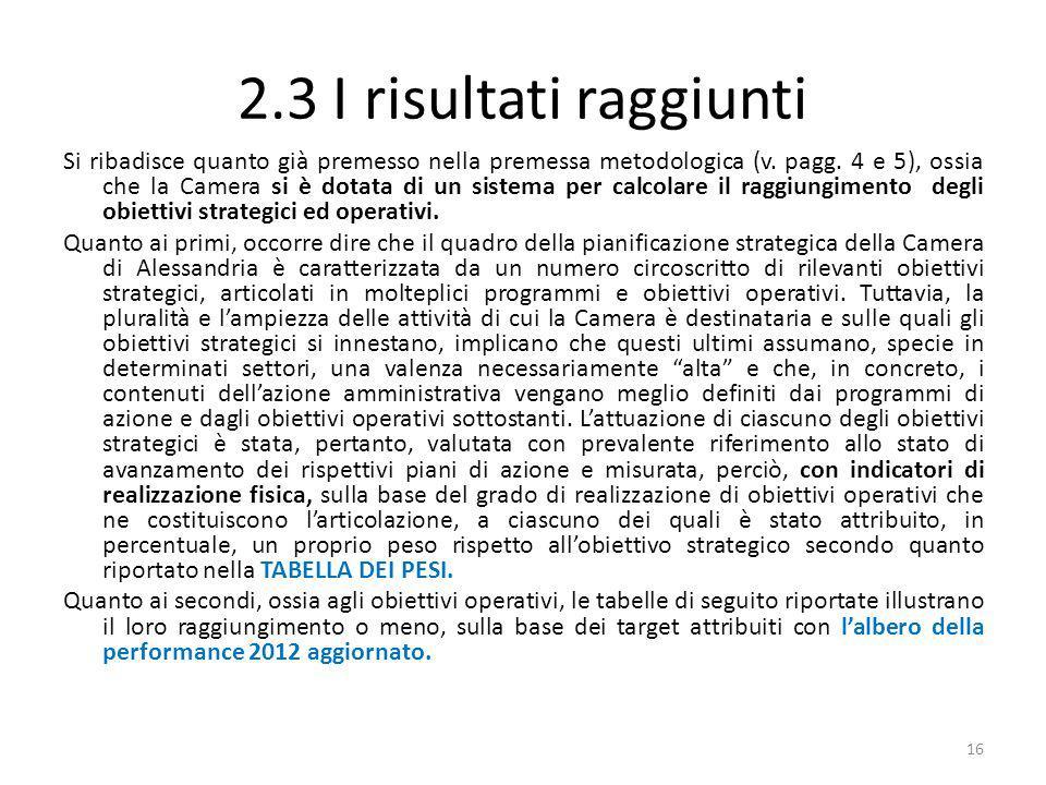 2.3 I risultati raggiunti Si ribadisce quanto già premesso nella premessa metodologica (v. pagg. 4 e 5), ossia che la Camera si è dotata di un sistema
