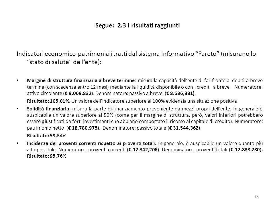Segue: 2.3 I risultati raggiunti Indicatori economico-patrimoniali tratti dal sistema informativo Pareto (misurano lo stato di salute dellente): Margi