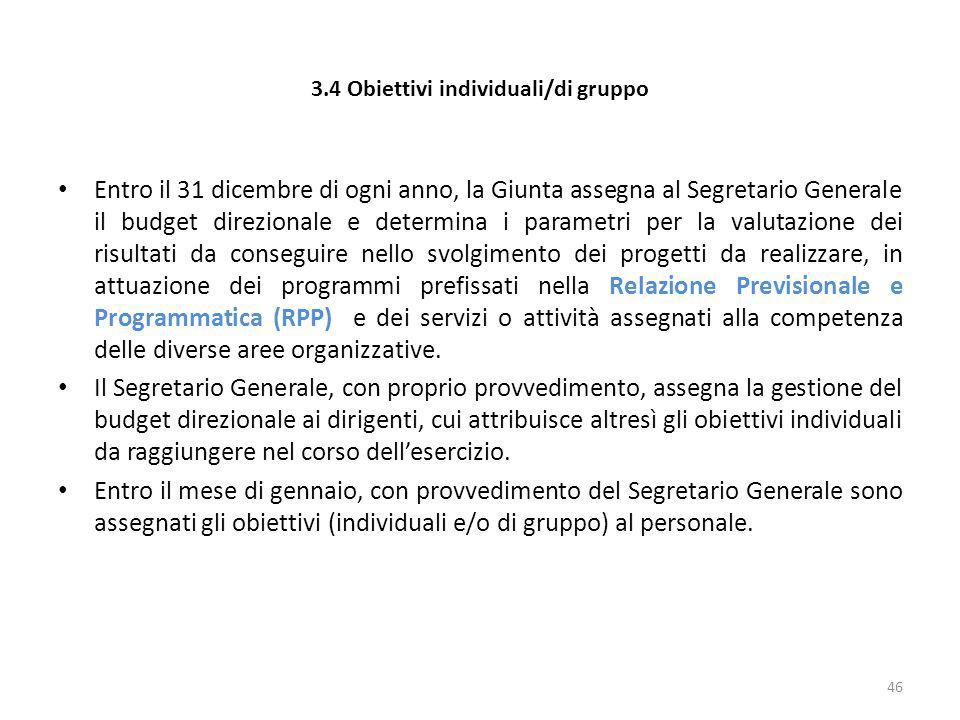 3.4 Obiettivi individuali/di gruppo Entro il 31 dicembre di ogni anno, la Giunta assegna al Segretario Generale il budget direzionale e determina i pa