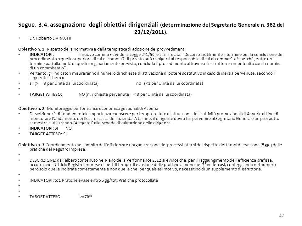Segue. 3.4. assegnazione degli obiettivi dirigenziali (determinazione del Segretario Generale n. 362 del 23/12/2011). Dr. Roberto LIVRAGHI Obiettivo n