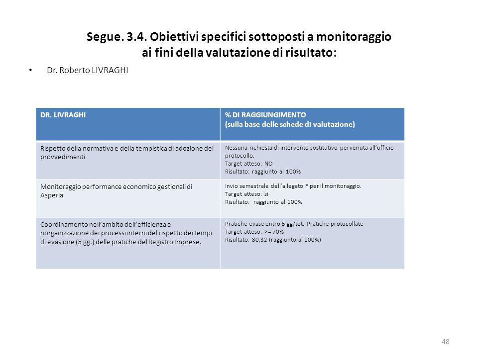 Segue. 3.4. Obiettivi specifici sottoposti a monitoraggio ai fini della valutazione di risultato: Dr. Roberto LIVRAGHI 48 DR. LIVRAGHI% DI RAGGIUNGIME