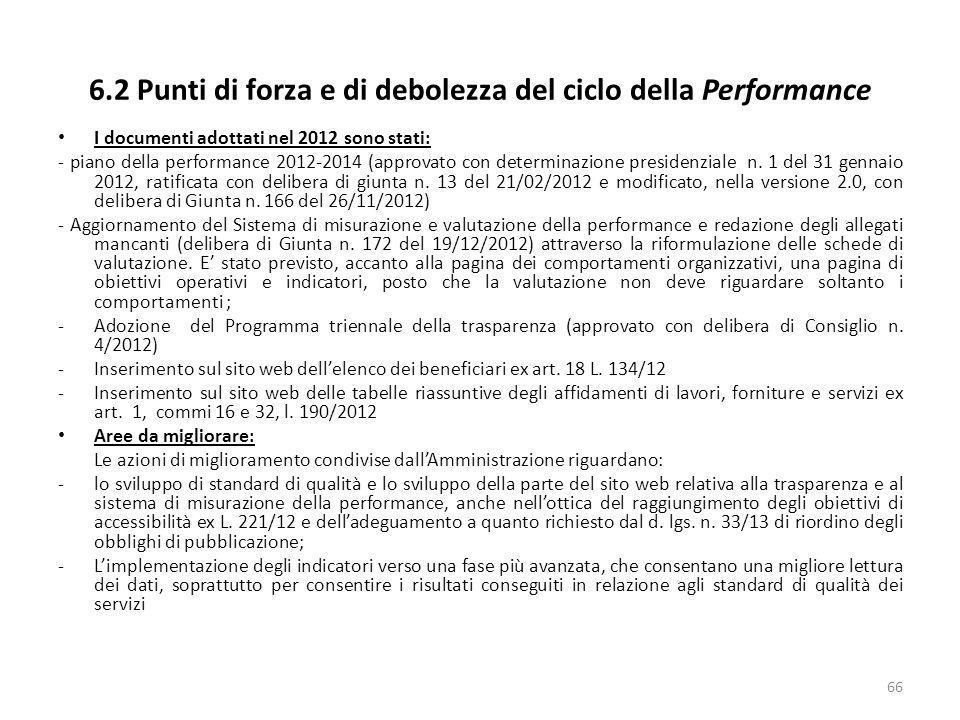 6.2 Punti di forza e di debolezza del ciclo della Performance I documenti adottati nel 2012 sono stati: - piano della performance 2012-2014 (approvato