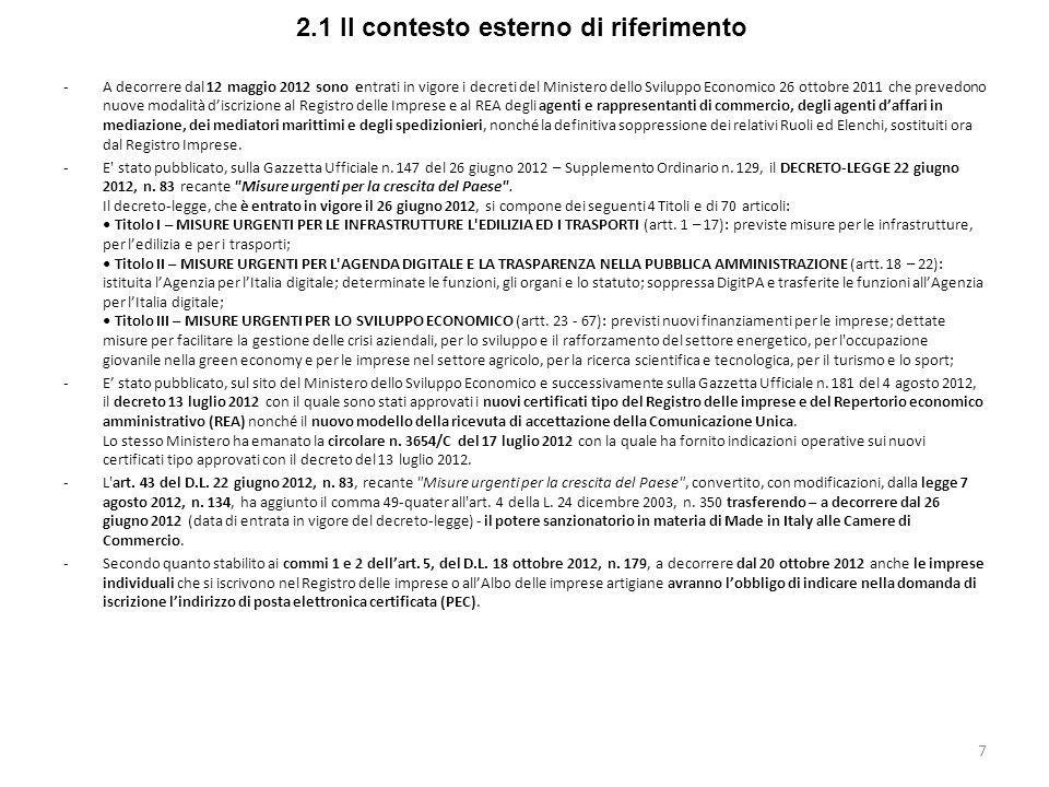 2.1 Il contesto esterno di riferimento -A decorrere dal 12 maggio 2012 sono entrati in vigore i decreti del Ministero dello Sviluppo Economico 26 otto