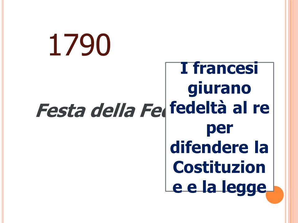 1790 Festa della Federazione I francesi giurano fedeltà al re per difendere la Costituzion e e la legge