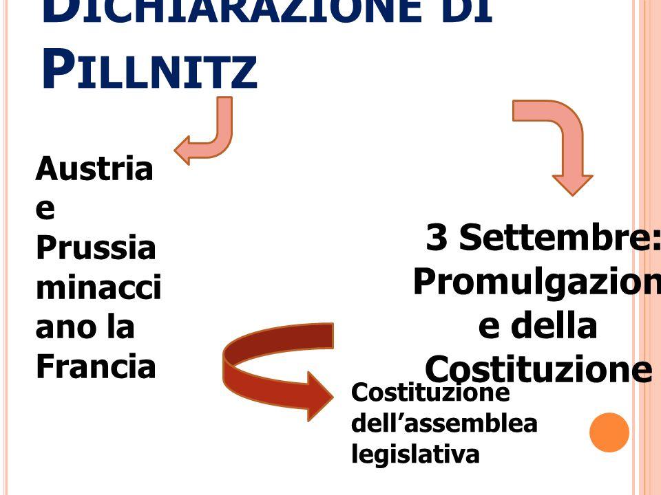 D ICHIARAZIONE DI P ILLNITZ Austria e Prussia minacci ano la Francia 3 Settembre: Promulgazion e della Costituzione Costituzione dellassemblea legisla