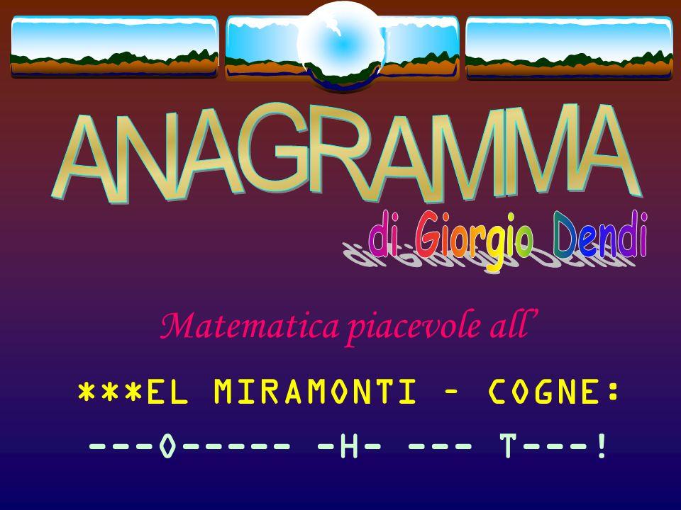 Matematica piacevole all **TEL MIRAMONTI – COGNE: ---O----- -H- --- ----!