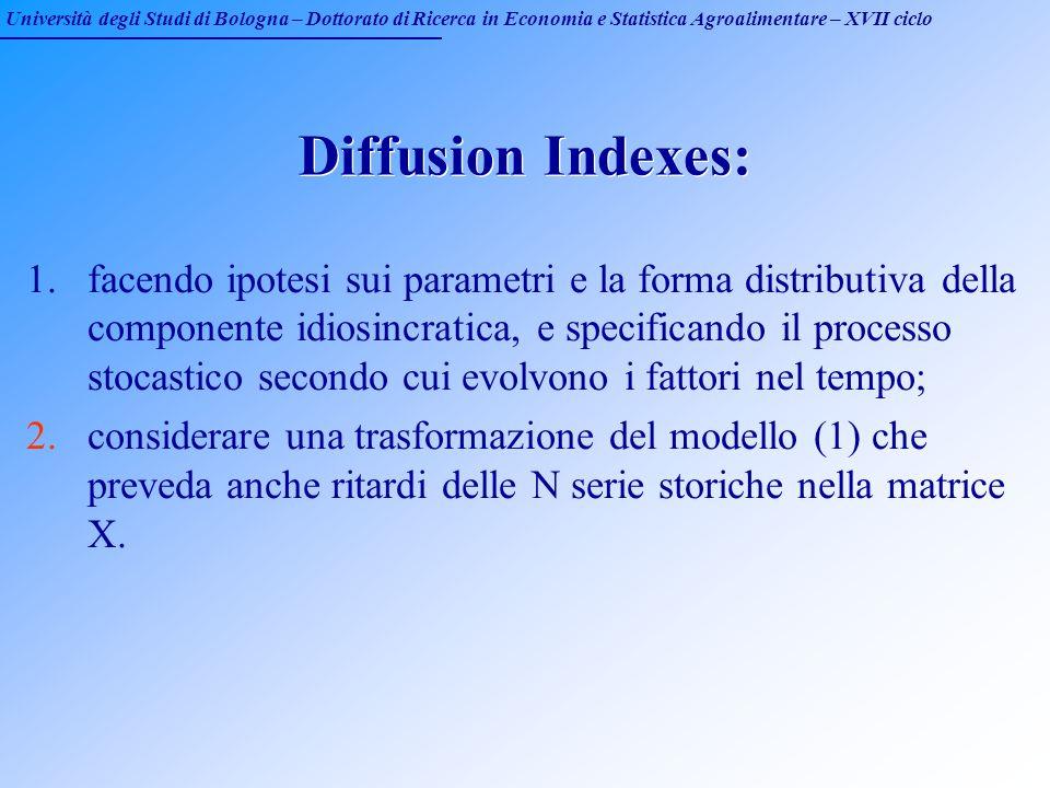 Università degli Studi di Bologna – Dottorato di Ricerca in Economia e Statistica Agroalimentare – XVII ciclo Diffusion Indexes: 1.facendo ipotesi sui