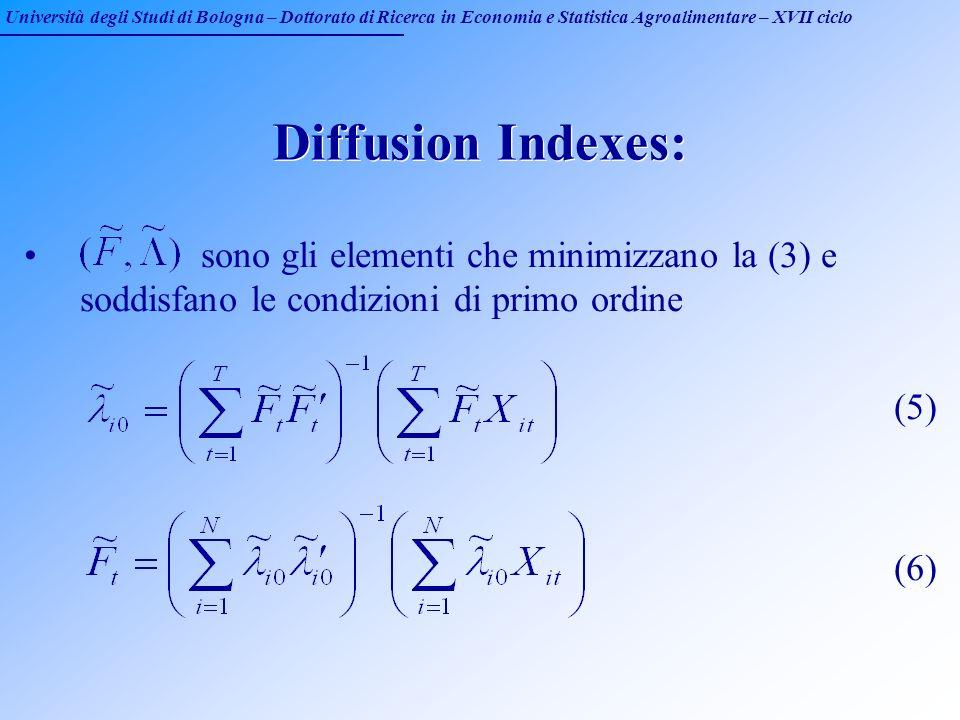 Università degli Studi di Bologna – Dottorato di Ricerca in Economia e Statistica Agroalimentare – XVII ciclo Diffusion Indexes: sono gli elementi che
