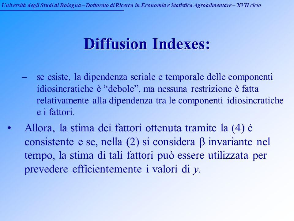 Università degli Studi di Bologna – Dottorato di Ricerca in Economia e Statistica Agroalimentare – XVII ciclo Diffusion Indexes: –se esiste, la dipend