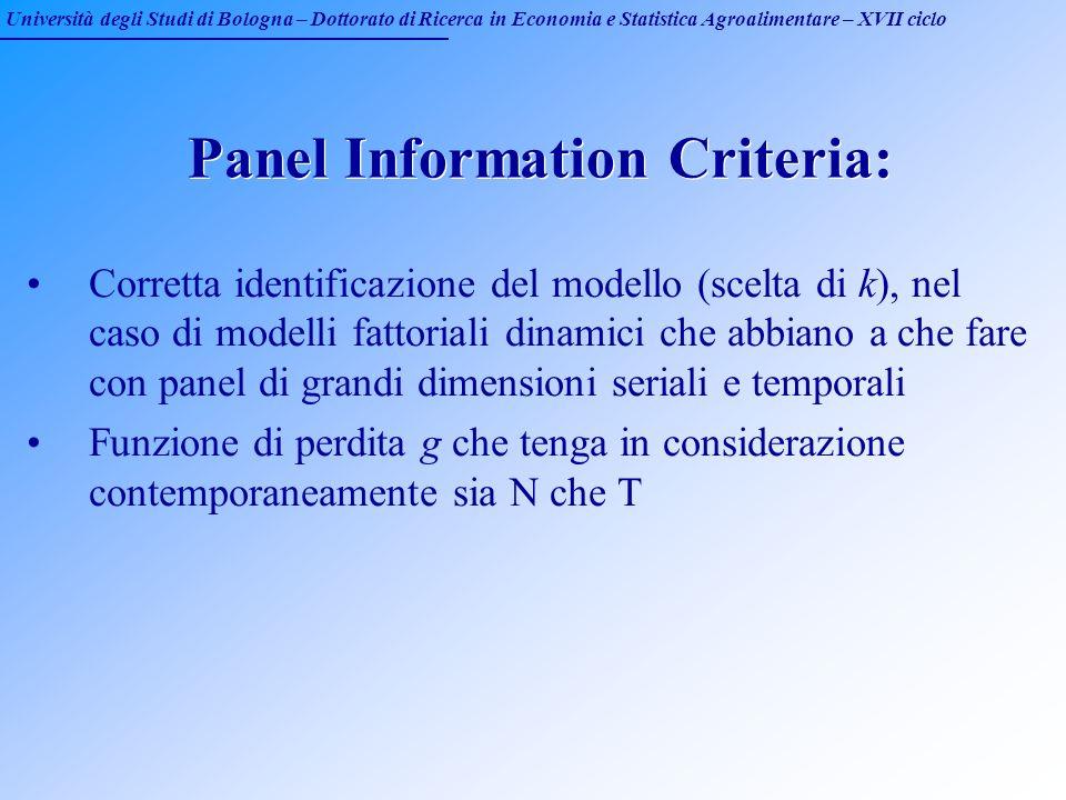 Università degli Studi di Bologna – Dottorato di Ricerca in Economia e Statistica Agroalimentare – XVII ciclo Panel Information Criteria: Corretta ide