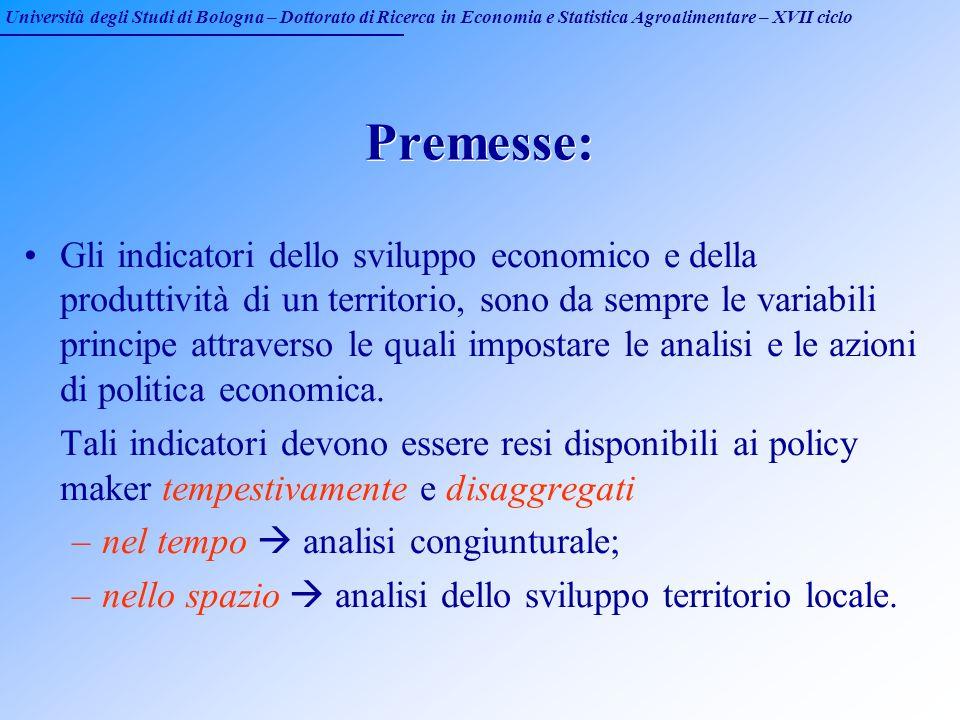 Università degli Studi di Bologna – Dottorato di Ricerca in Economia e Statistica Agroalimentare – XVII ciclo Premesse: Gli indicatori dello sviluppo