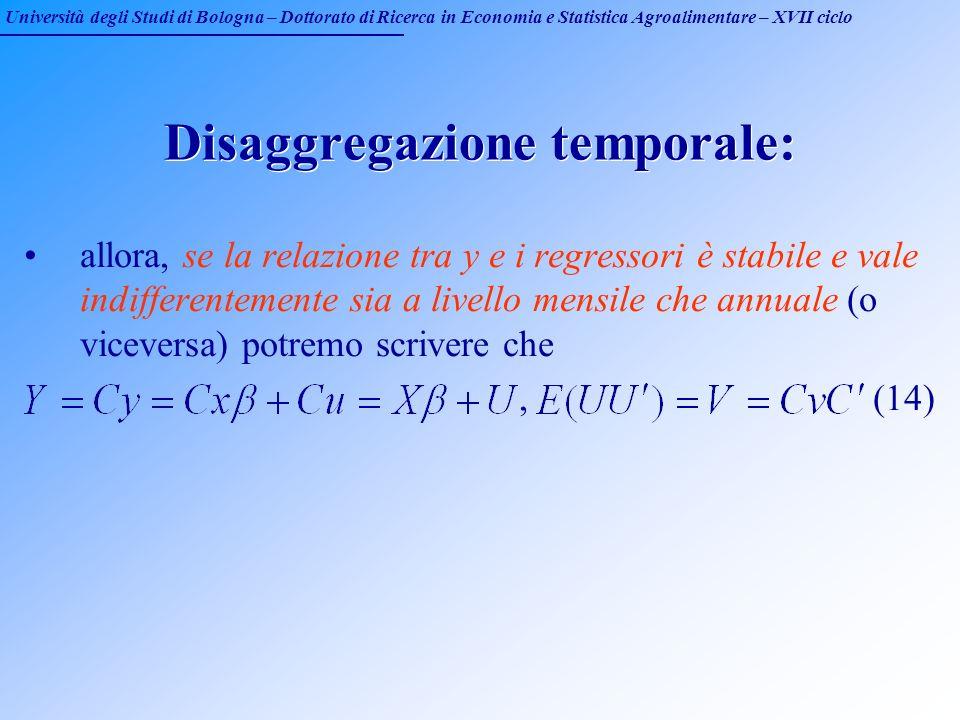 Università degli Studi di Bologna – Dottorato di Ricerca in Economia e Statistica Agroalimentare – XVII ciclo Disaggregazione temporale: allora, se la