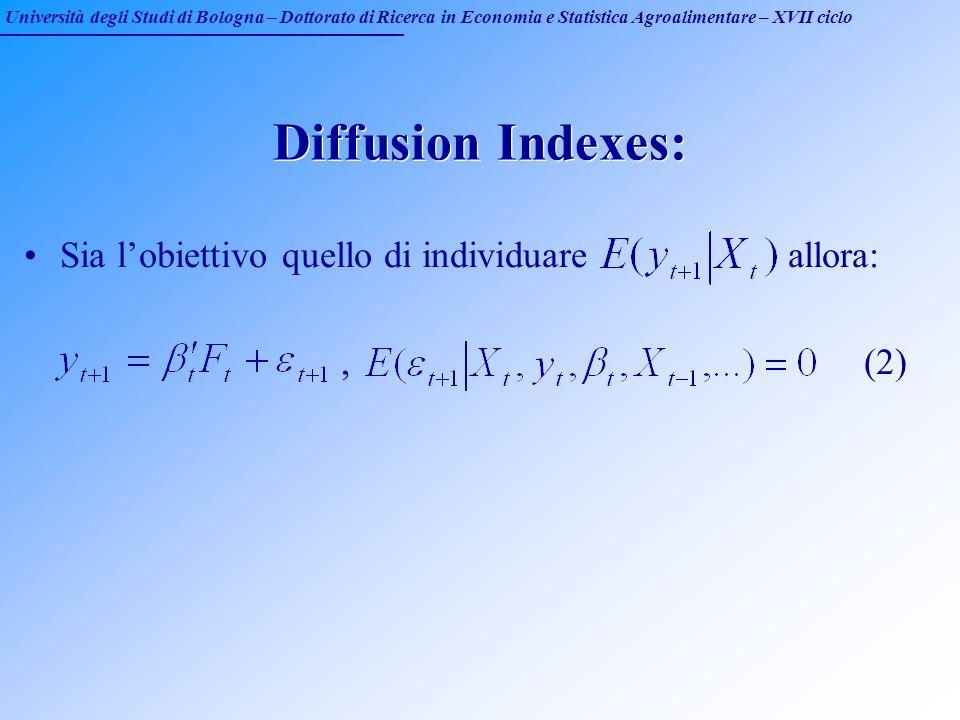 Università degli Studi di Bologna – Dottorato di Ricerca in Economia e Statistica Agroalimentare – XVII ciclo Diffusion Indexes: Sia lobiettivo quello