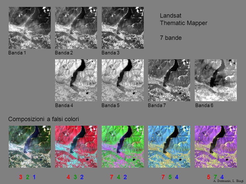 3 2 14 3 27 4 27 5 45 7 4 Landsat Thematic Mapper 7 bande Banda 1Banda 2Banda 3 Banda 4Banda 5Banda 7Banda 6 Composizioni a falsi colori A. Dermanis,