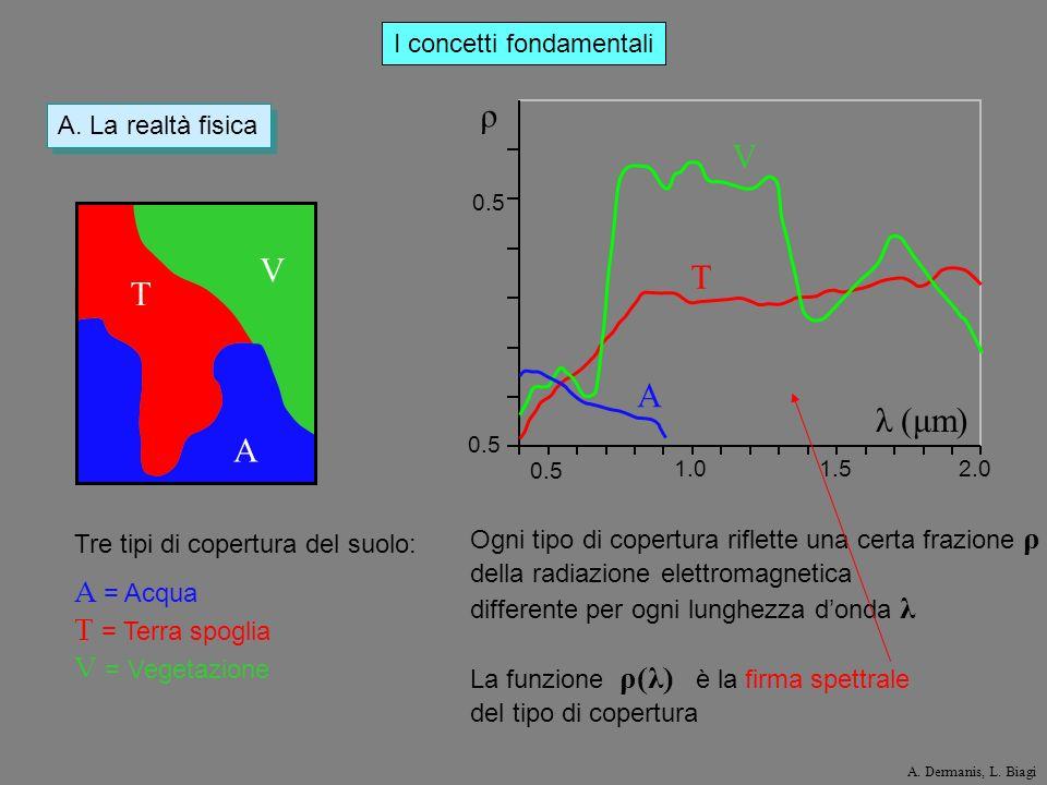 I concetti fondamentali A. La realtà fisica 0.5 1.01.52.0 0.5 ρ λ (μm) V T A V T A Tre tipi di copertura del suolo: A = Acqua T = Terra spoglia V = Ve