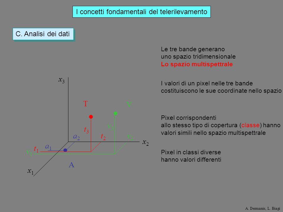 I concetti fondamentali del telerilevamento C. Analisi dei dati x3x3 x2x2 x1x1 v1v1 v2v2 v3v3 t1t1 t2t2 t3t3 a1a1 a2a2 A V T I valori di un pixel nell