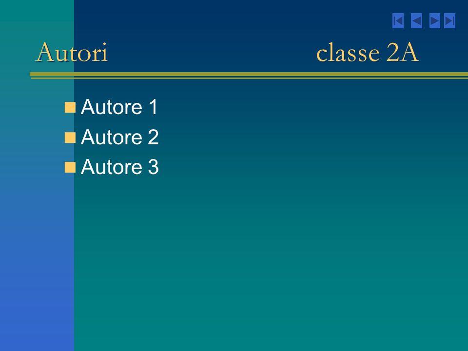 Autori classe 2A Autore 1 Autore 2 Autore 3